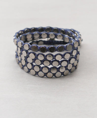 Triple Wrap Disk Bracelet in Gunmetal and Silver