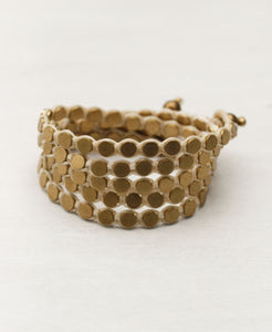 Triple Wrap Disk Bracelet in Brass