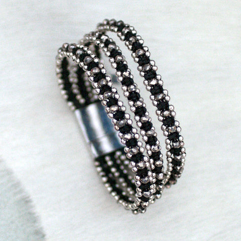 Sparkle Handwoven 3-in-1 Bracelet-BLACK