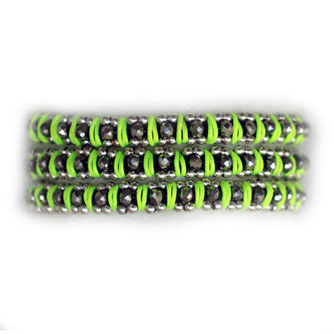 Sparkle Handwoven 3-in-1 Bracelet - NEON YELLOW