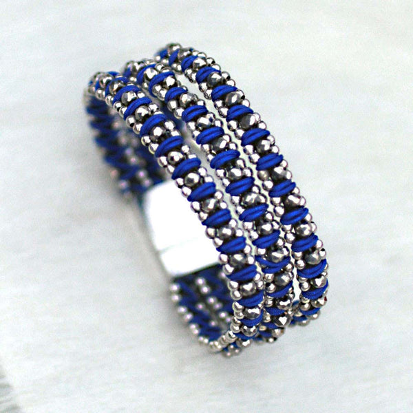 Sparkle Handwoven 3-in-1 Bracelet - ROYAL BLUE