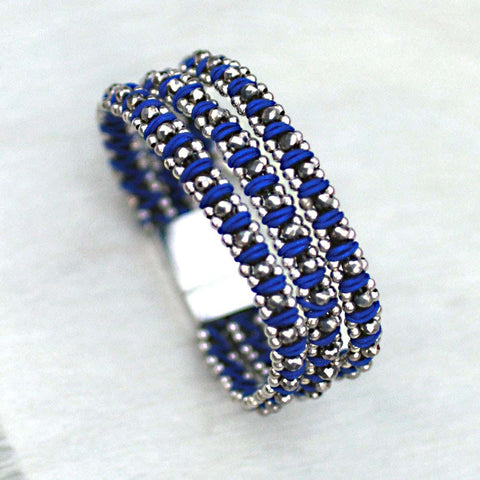 Sparkle Handwoven 3-in-1 Bracelet-ROYAL BLUE