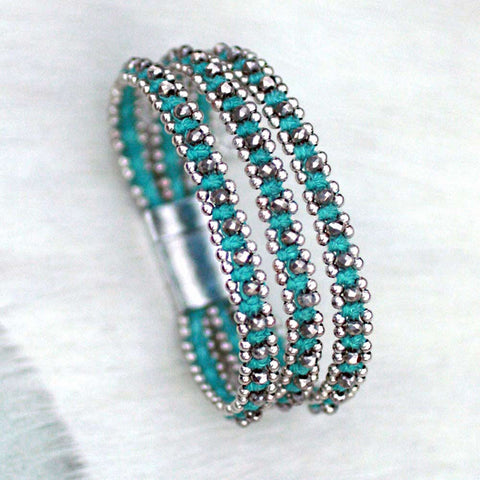 Sparkle Handwoven 3-in-1 Bracelet-TURQUOISE