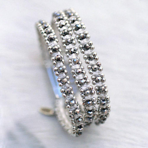 Sparkle Handwoven 3-in-1 Bracelet-WHITE