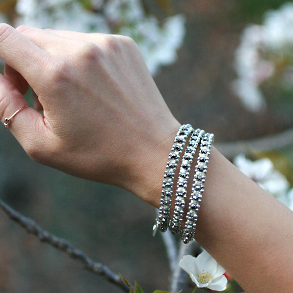 Sparkle Handwoven 3-in-1 Bracelet - WHITE