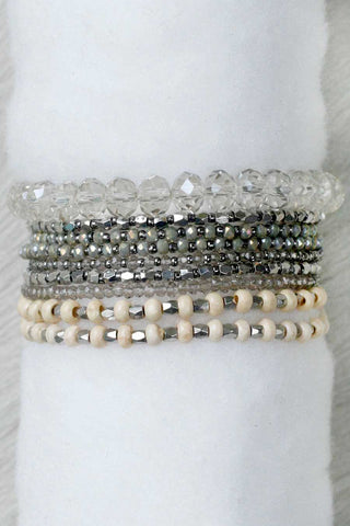 REVAMPED PRELAYERED CRYSTAL MAGNETIC & STRETCH STATEMENT BRACELET: GREY