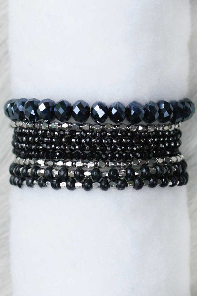 REVAMPED PRELAYERED CRYSTAL MAGNETIC & STRETCH STATEMENT BRACELET - BLACK
