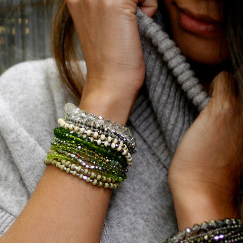 REVAMPED PRELAYERED CRYSTAL MAGNETIC & STRETCH STATEMENT BRACELET - GREY