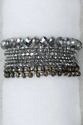 REVAMPED PRELAYERED CRYSTAL MAGNETIC & STRETCH STATEMENT BRACELET: PYRITE SILVER