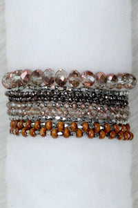 REVAMPED PRELAYERED CRYSTAL MAGNETIC & STRETCH STATEMENT BRACELET - ROSE GOLD