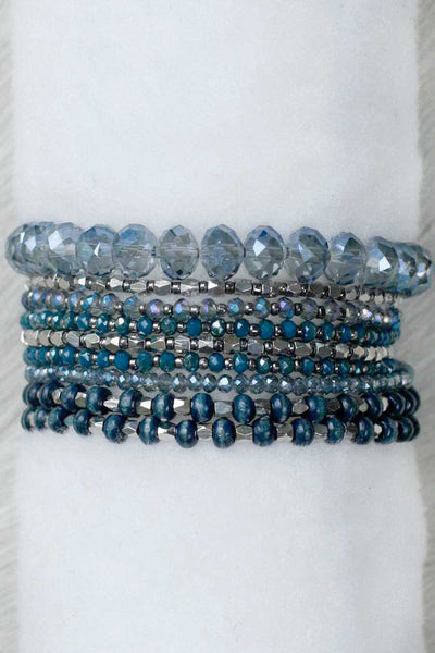REVAMPED PRELAYERED CRYSTAL MAGNETIC & STRETCH STATEMENT BRACELET: AZURE BLUE