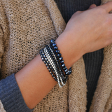 Prelayered Crystal Magnetic& Stretch Statement Bracelet: BLACK