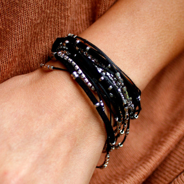 Glistening Strands Double Duty Wrap Bracelet/Necklace with Easy Magnetic Adjustable Clasp - Black