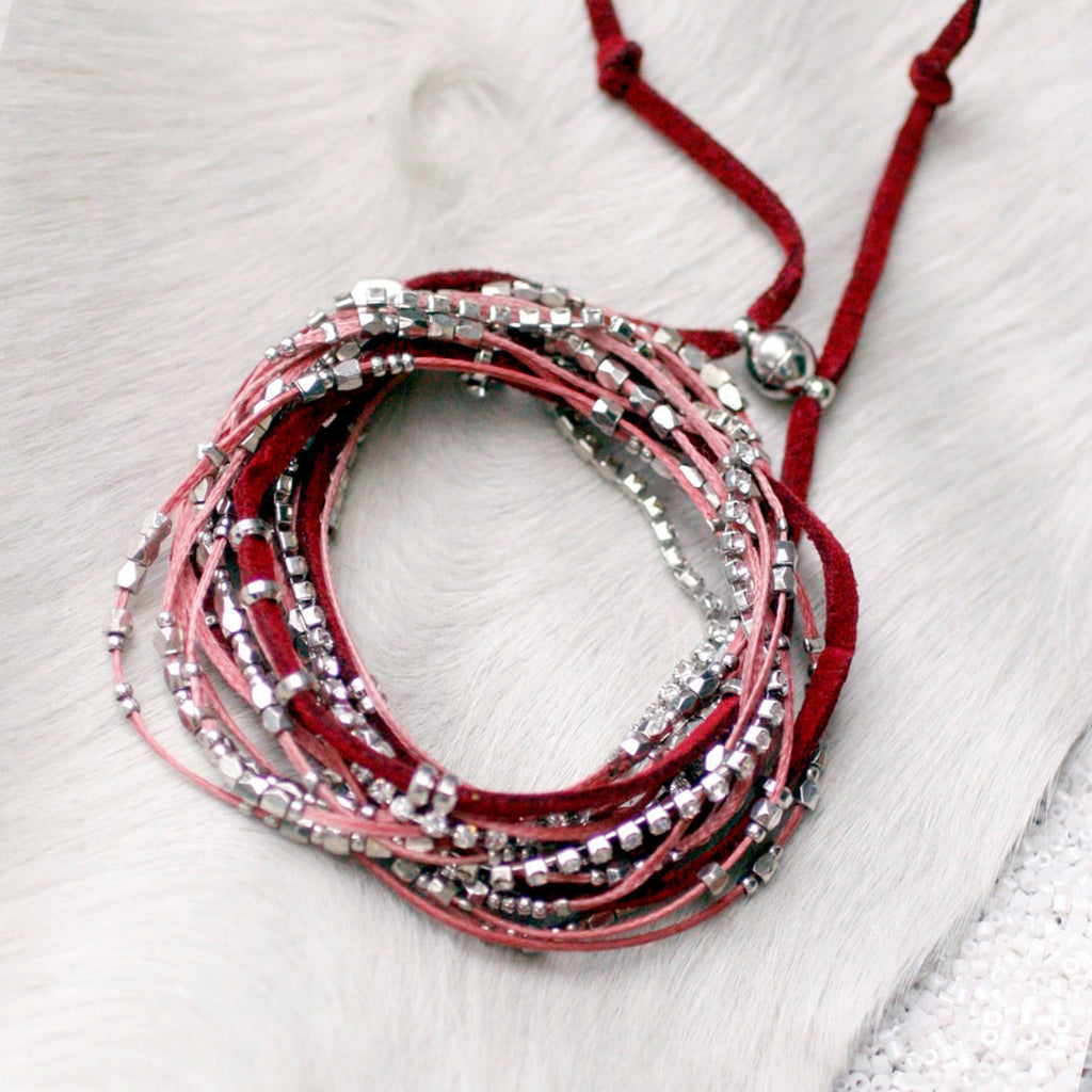 Glistening Strands Double Duty Wrap Bracelet/Necklace with Easy Magnetic Adjustable Clasp - MAROON
