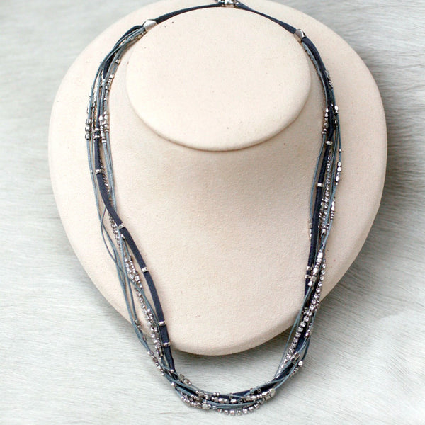 Glistening Strands Double Duty Wrap Bracelet/Necklace with Easy Magnetic Adjustable Clasp - Grey