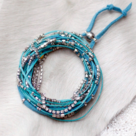 Glistening Strands Double Duty Wrap Bracelet/Necklace with Easy Magnetic Adjustable Clasp - TURQUOISE