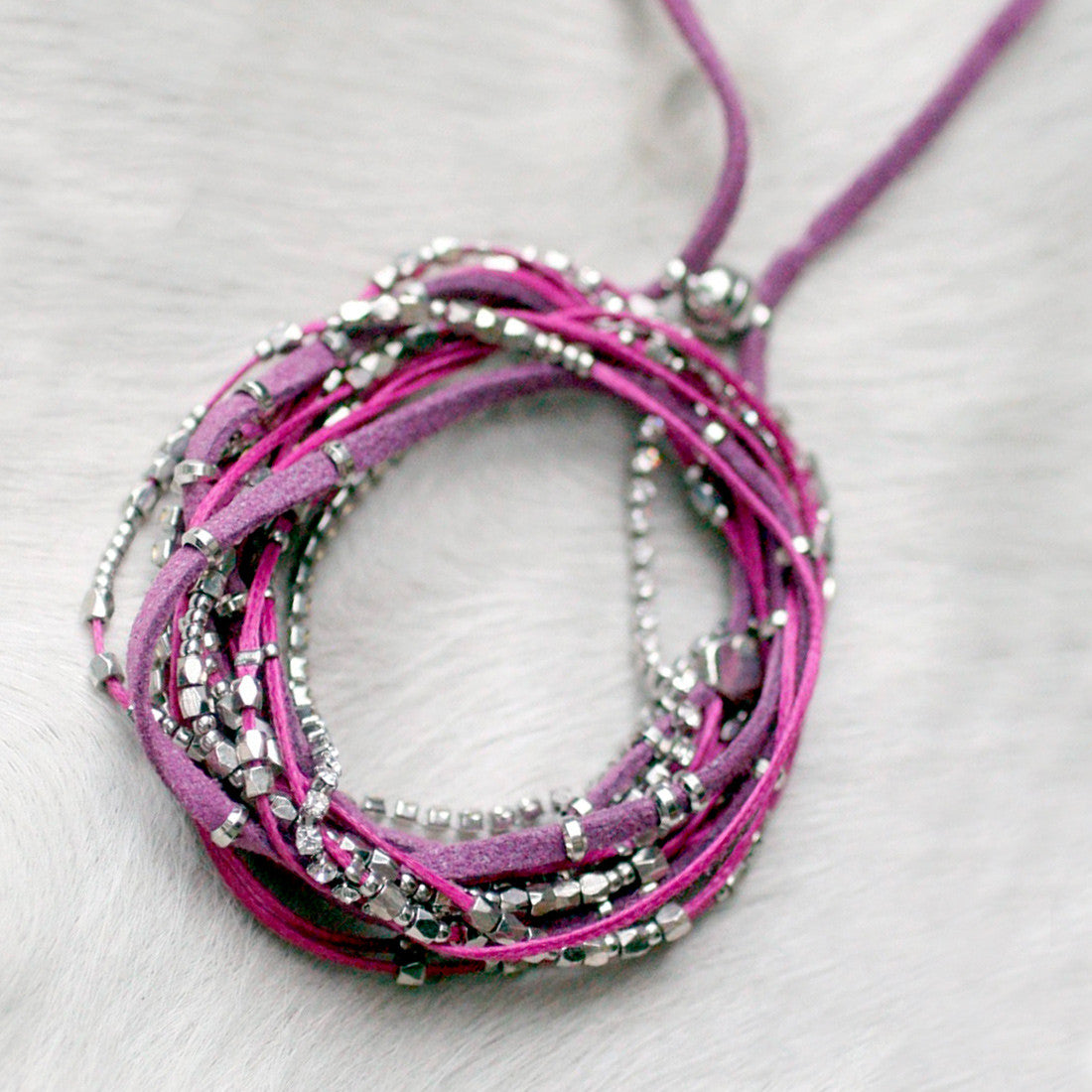 Glistening Strands Double Duty Wrap Bracelet/Necklace with Easy Magnetic Adjustable Clasp - Violet