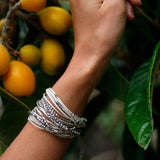 Glistening Strands Double Duty Wrap Bracelet/Necklace with Easy Magnetic Adjustable Clasp - WHITE