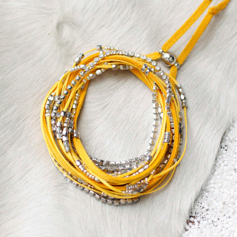 Glistening Strands Double Duty Wrap Bracelet/Necklace with Easy Magnetic Adjustable Clasp - Yellow