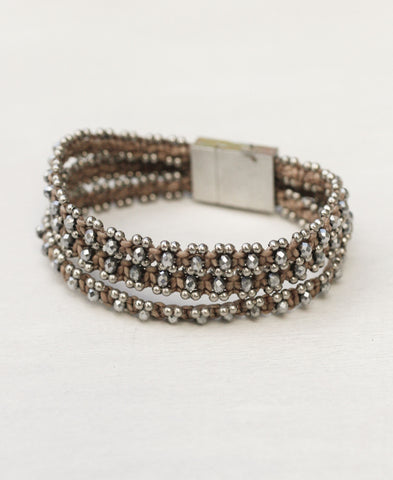 Triple Strand Crystal Cuff with Magnetic Closure