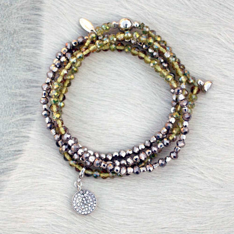 Charmed Magnetic Clasp Multi Wrap - Olive Green