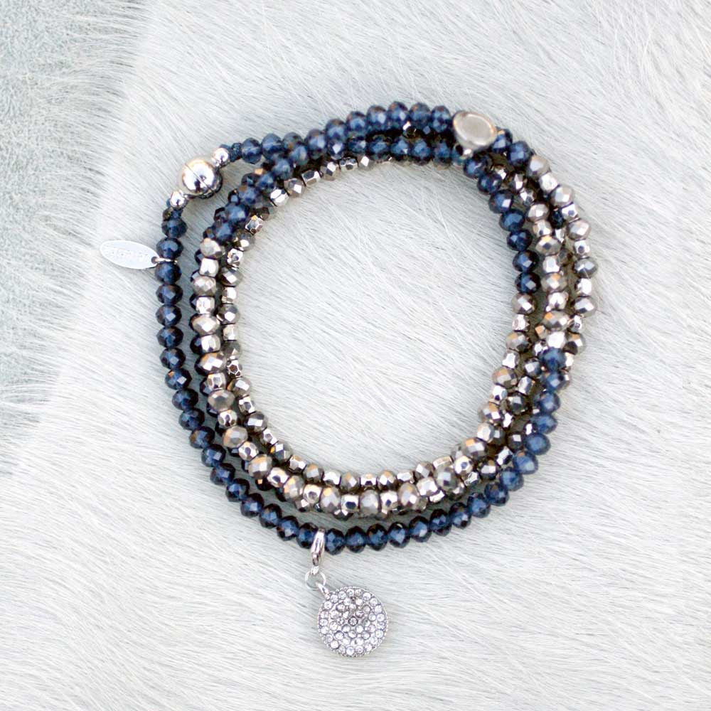 Charmed Magnetic Clasp Multi Wrap - Navy