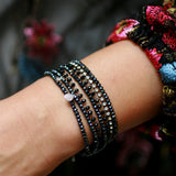 7-in-1 Magnetic Clasp Prelayered Bracelet with Pave Charm - BLACK