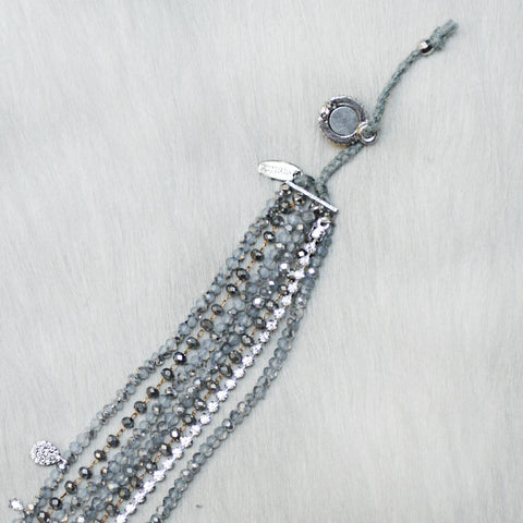 7-in-1 Magnetic Clasp Prelayered Bracelet with Pave Charm - Grey