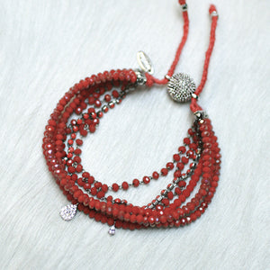 7-in-1 Magnetic Clasp Prelayered Bracelet with Pave Charm - Red