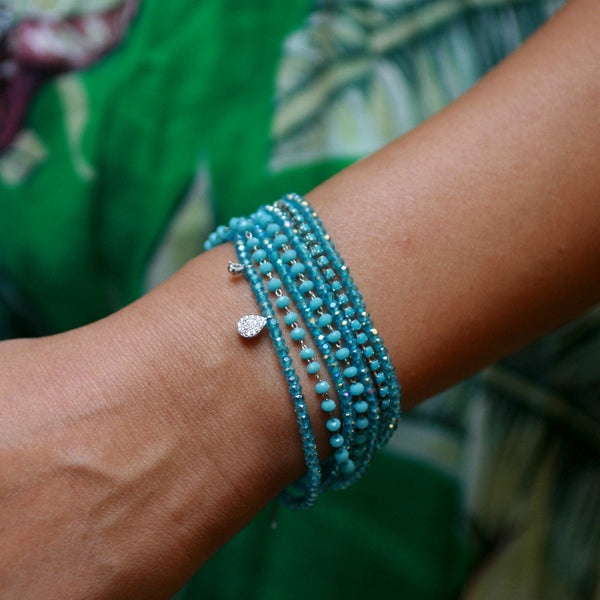 7-in-1 Magnetic Clasp Prelayered Bracelet with Pave Charm - Turquoise