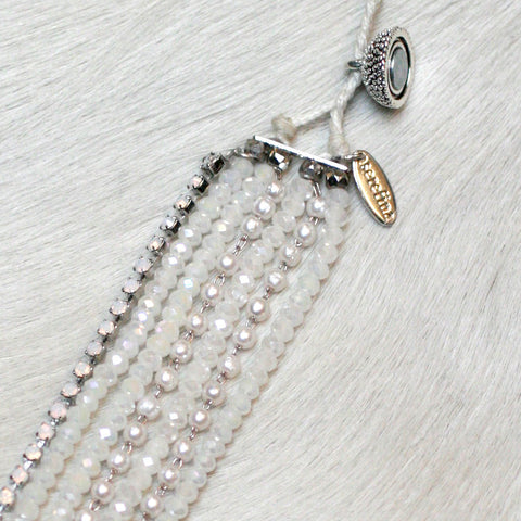 7-in-1 Magnetic Clasp Prelayered Bracelet with Pave Charm - White