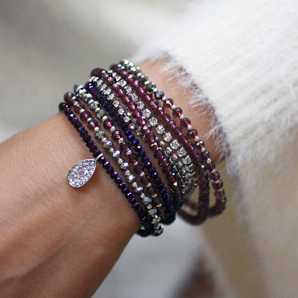 10-in-1 Magnetic Clasp Prelayered Bracelet with Pave Charm - Amethyst