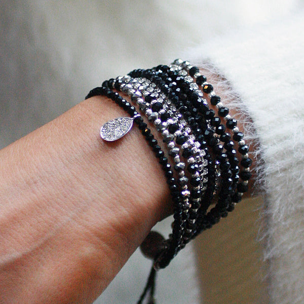 10-in-1 Magnetic Clasp Prelayered Bracelet with Pave Charm - Black