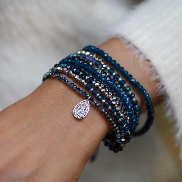 10-in-1 Magnetic Clasp Prelayered Bracelet with Pave Charm - Navy