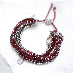 10-in-1 Magnetic Clasp Prelayered Bracelet with Pave Charm - Red