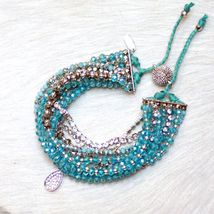 10-in-1 Magnetic Clasp Prelayered Bracelet with Pave Charm - Turquoise