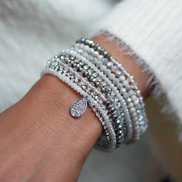 10-in-1 Magnetic Clasp Prelayered Bracelet with Pave Charm - White