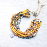10-in-1 Magnetic Clasp Prelayered Bracelet with Pave Charm - YELLOW