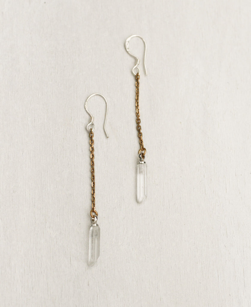 Delicate Healing Crystals Chain Drop Earrings