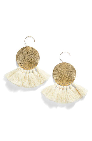 Lunar Sparkle Tassels Statement Earrings - White