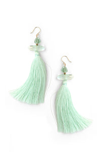 Large Tassel Drop Earrings - Mint