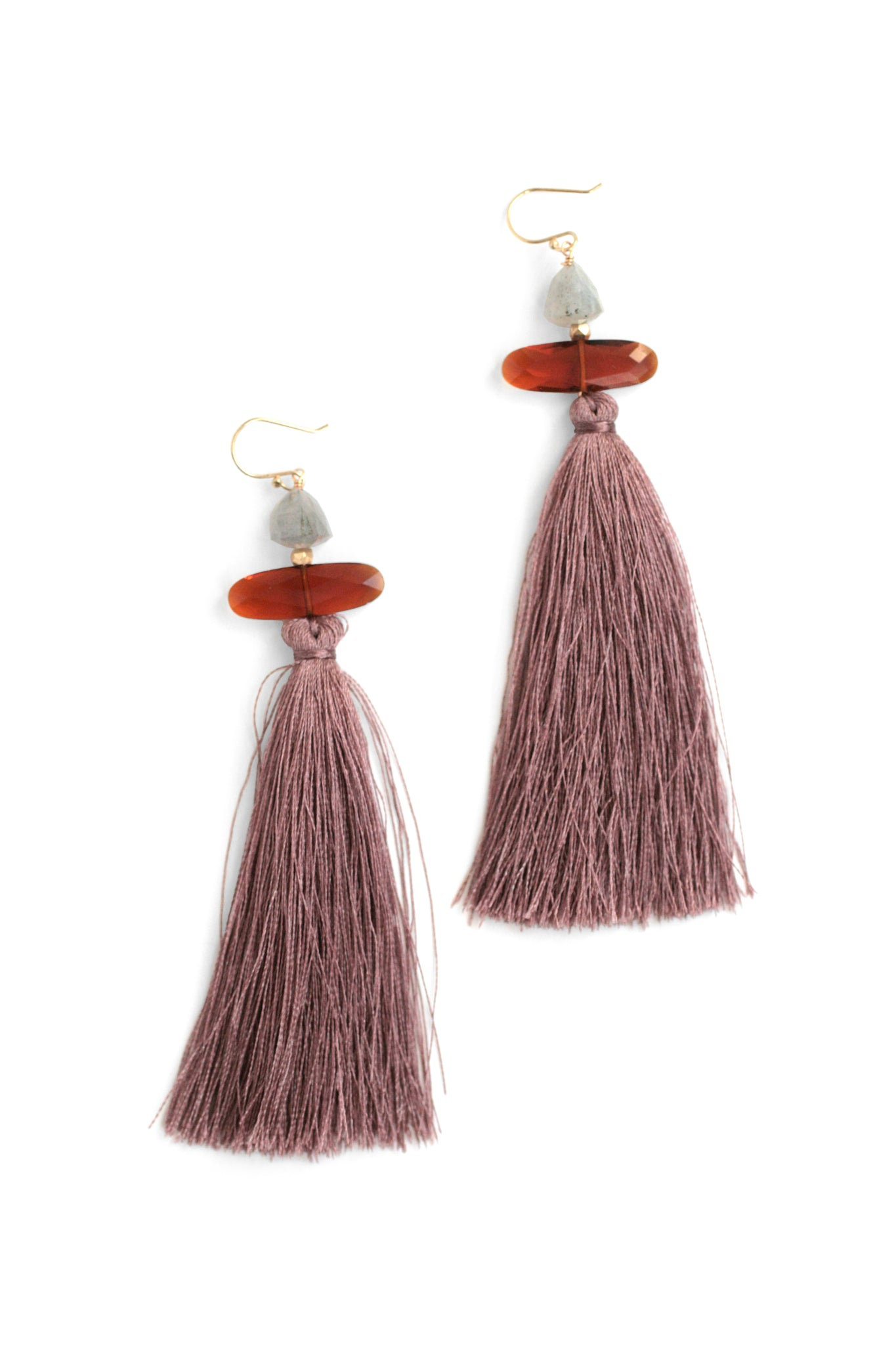 Large Tassel Drop Earrings - Rose