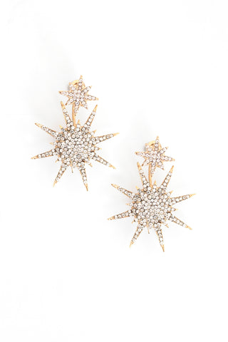 Pave Medium Starburst Front Back Earrings - Gold