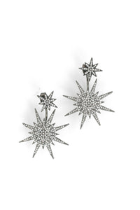 Pave Medium Starburst Front Back Earrings - Gunmetal
