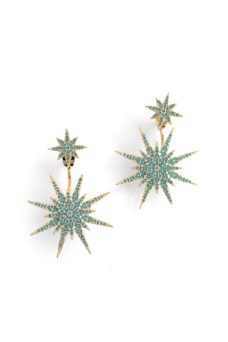 Pave Medium Starburst Front Back Earrings - Turquoise