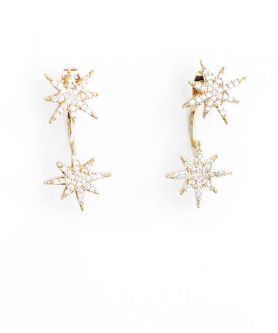 Pave Small Starburst Front/Back Earrings - Gold