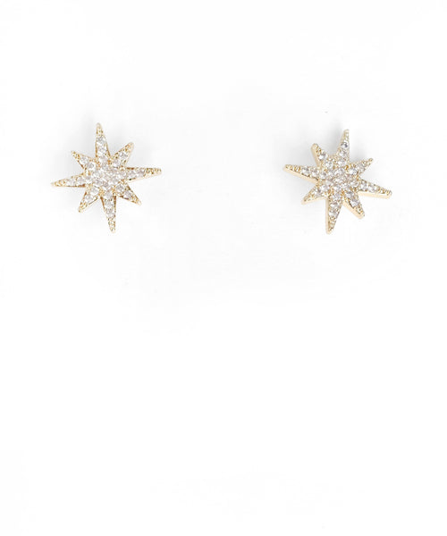 Pave Small Starburst Simple Studs - Gold