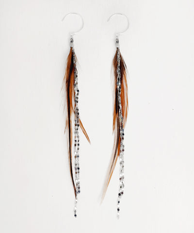 Glistening Long Feather Earrings