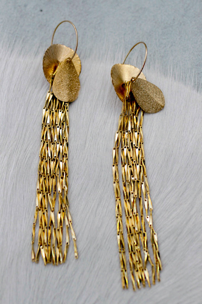 Gold Fringe Drape Earrings