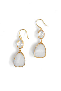 Sliced Double Drop Earrings - White Moonstone
